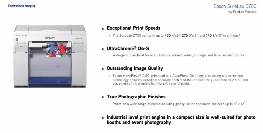 Epson SureLab D700 Standard Edition Minilab Photo Printer