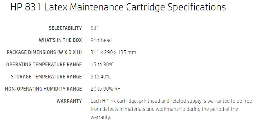 HP 831 Maintenance Cartridge for HP Latex 310, 315, 330, 335, 360, 365,  370, 560, 570, 115