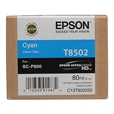 Epson T850 UltraChrome HD 80ml Cyan Ink Cartridge for SureColor P800 -  T850200